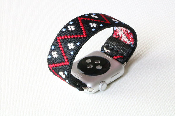 Armband für Apple Watch Schwarz Rot Boho Series 2, Series 3, Series 4, Series 5 38mm 40mm 42mm 44mm