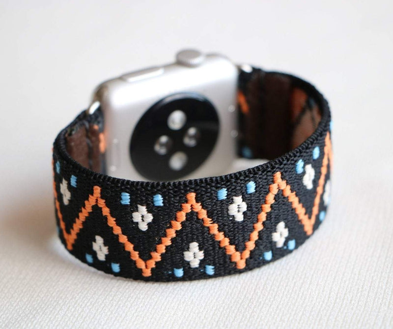 Armband für Apple Watch Schwarz Orange Boho Series 2, Series 3, Series 4, Series 5 38mm 40mm 42mm 44mm