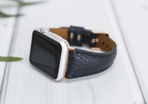 38/42/40/44mm Navy Blue Slim Lederarmband