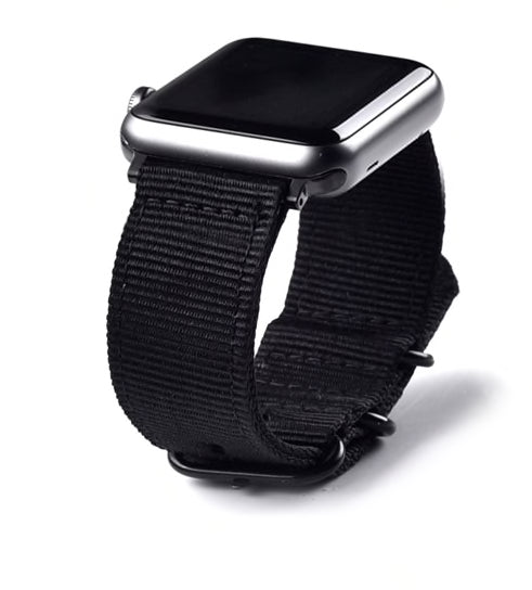 Sport Armband für Apple Watch Double Buckle Schwarz Series 3 Series 4 Series 5 38mm 40mm 42mm 44mm