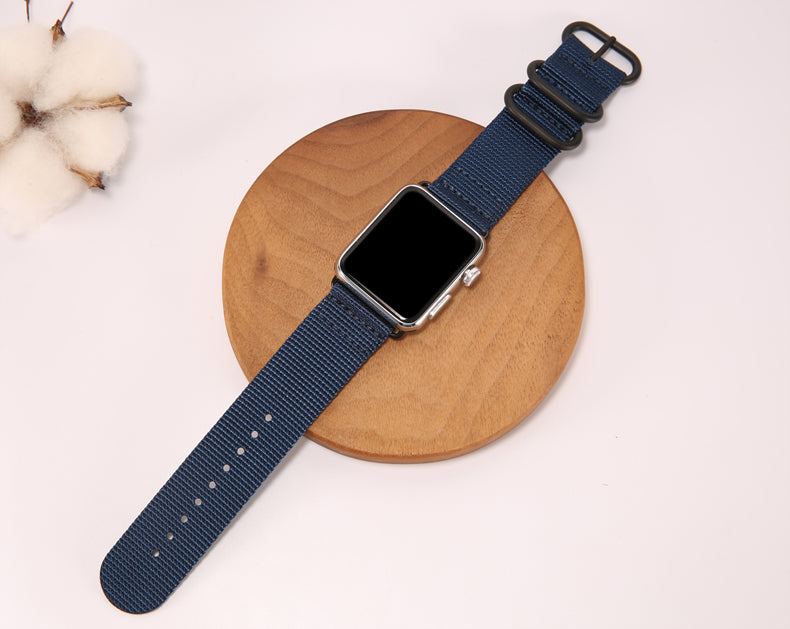 Sport Loop Armband für Apple Watch Double Buckle Dunkelblau Series 3 Series 4 Series 5 38mm 40mm 42mm 44mm