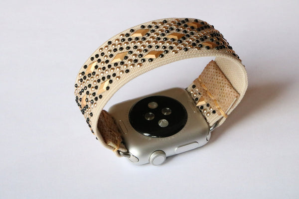 Armband für Apple Watch Beige Boho Series 2, Series 3, Series 4, Series 5 38mm 40mm 42mm 44mm