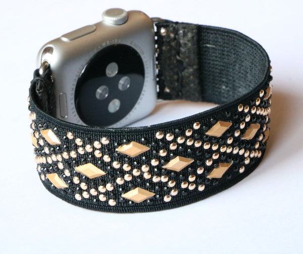 Armband für Apple Watch Gold Schwarz Boho Series 2, Series 3, Series 4, Series 5 38mm 40mm 42mm 44mm