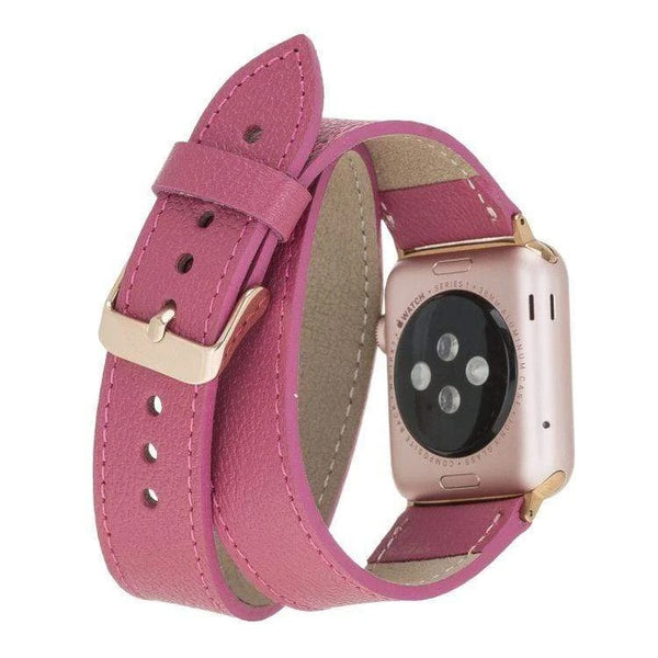 Persian Pink Double Trouble | Lederarmband für Apple Watch (Rosa)