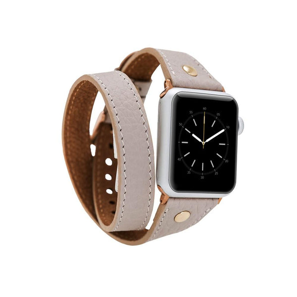 lederarmband für apple watch rose beige slim double trouble awab passend zu Serien 2, 3, 4, 5, 38mm 40mm 42mm 44mm