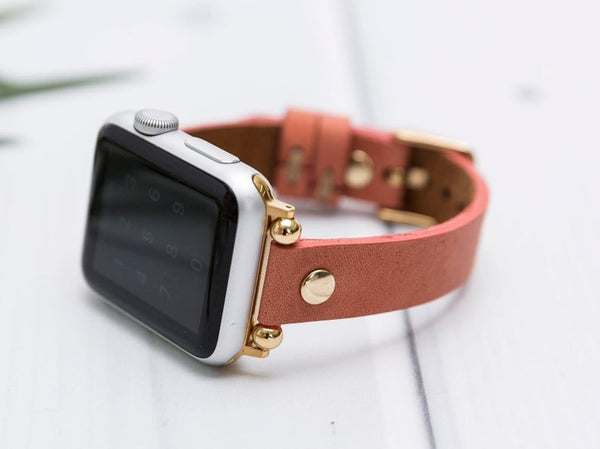 Velvet Peach Ultra Slim Lederarmband Damen Leder Band für Apple Watch 3, 4, 5. 40mm 44mm 38mm 42mm iWatch