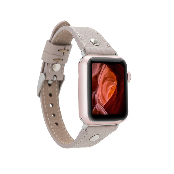 Rose Beige Rivet Slim | Lederarmband für Apple Watch (Beige)
