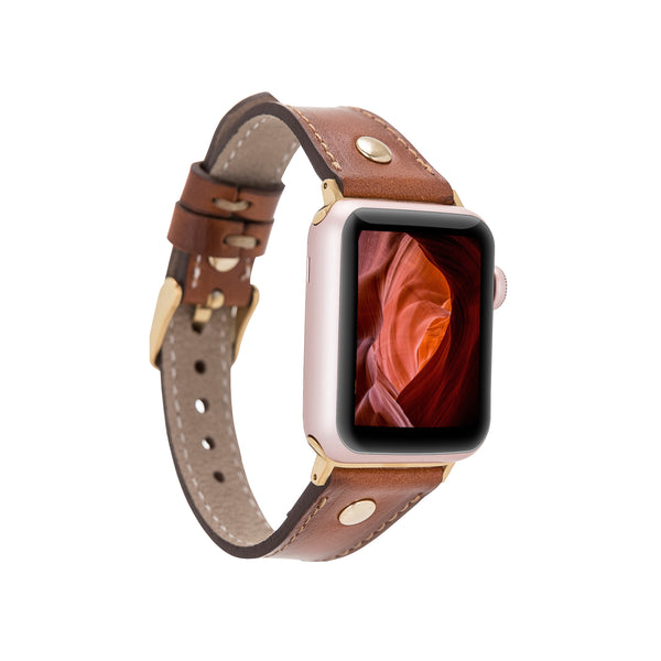 Brown Burnished Slim | Lederarmband für Apple Watch (Braun)
