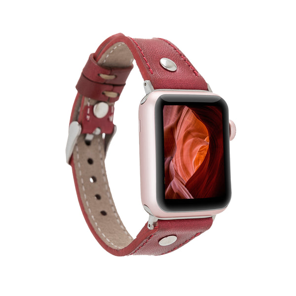 Maroon Red Rivet Slim | Lederarmband für Apple Watch (Rot)