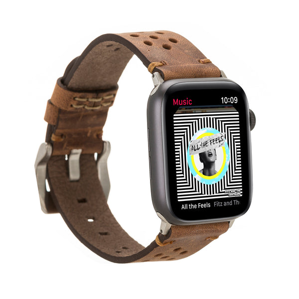 Vintage Brown Racing Classic | Lederarmband für Apple Watch (Braun)
