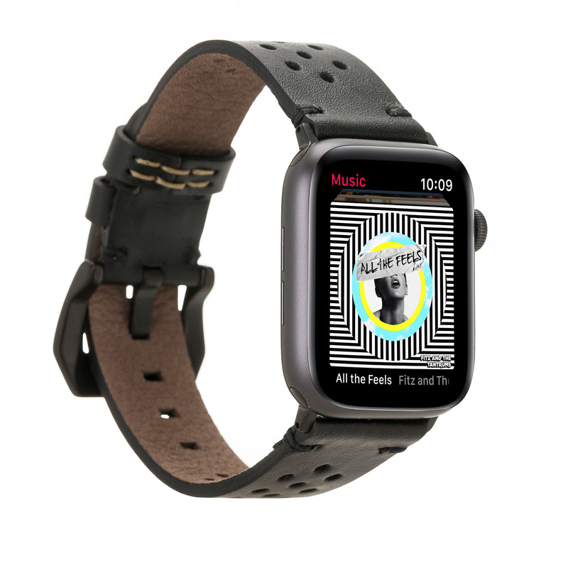 Black Racing Classic | Lederarmband für Apple Watch (Schwarz)