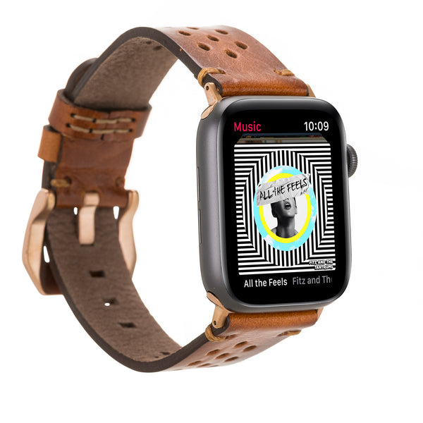 Burnished Brown Racing Classic | Lederarmband für Apple Watch (Braun)
