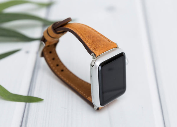 Vintage Brown Slim Lederarmband Damen Leder Band für Apple Watch 3, 4, 5. 40mm 44mm 38mm 42mm iWatch