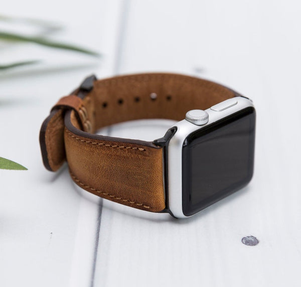 Vintage Brown Tan Classic Lederarmband Leder Band für Apple Watch 3, 4, 5. 40mm 44mm 38mm 42mm iWatch