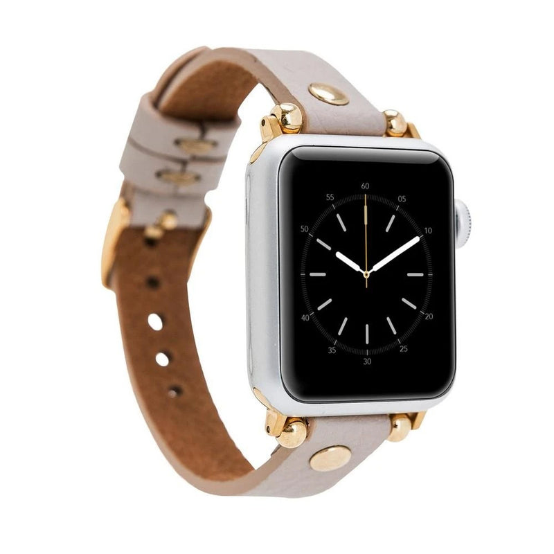Rose Beige Gold Rivet Petit Slim | Lederarmband für Apple Watch (Grau)