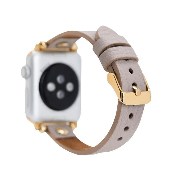 lederarmband für apple watch rose beige gold rivet petit slim awab passend zu Serien 2, 3, 4, 5, 38mm 40mm 42mm 44mm