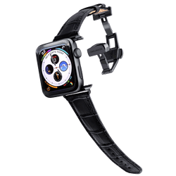 lederarmband für apple watch schwarz gepraegtes alligator damen midnight black longvadon passend zu Serien 2, 3, 4, 5, 38mm 40mm 42mm 44mm