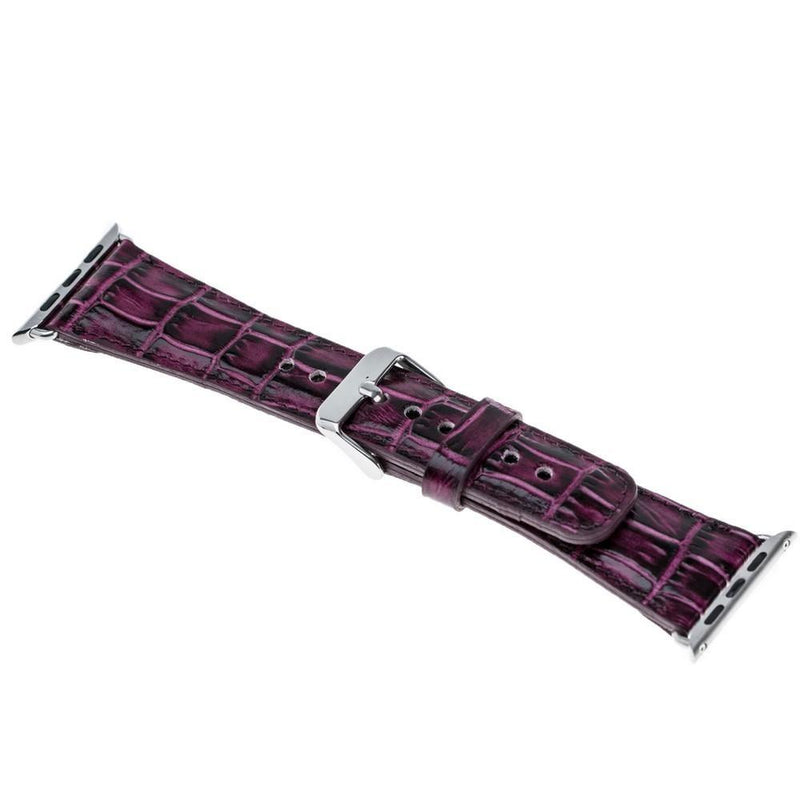 lederarmband für apple watch lila croco purple classic awab passend zu Serien 2, 3, 4, 5, 38mm 40mm 42mm 44mm