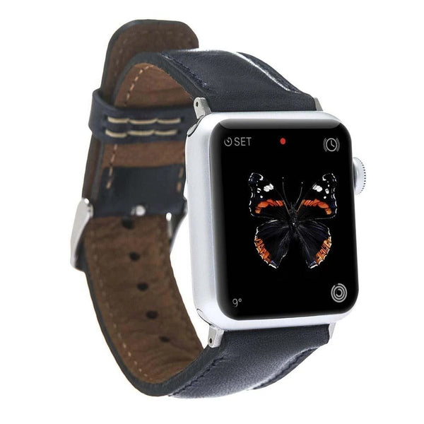 lederarmband für apple watch blau dark blue classic awab passend zu Serien 2, 3, 4, 5, 38mm 40mm 42mm 44mm