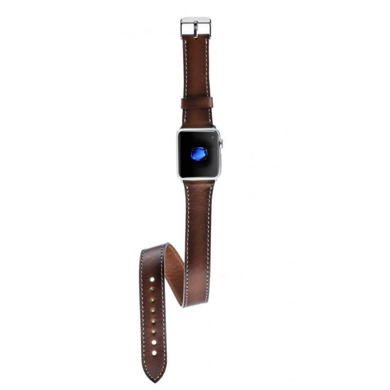 lederarmband für apple watch braun double trouble dark brown double trouble bemfey passend zu Serien 2, 3, 4, 5, 38mm 40mm 42mm 44mm