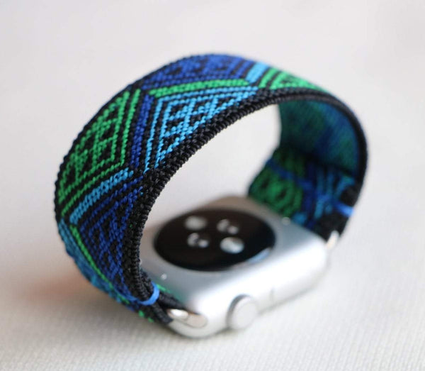 Ethnic Blue Elastic Armband Band für Apple Watch 3, 4, 5. 44mm 42mm 38mm 40mm iWatch zubehör designer