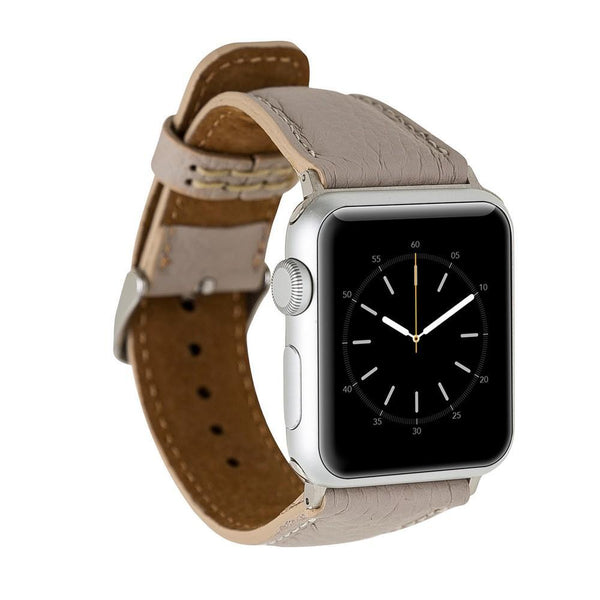 Rose Beige Classic | Lederarmband für Apple Watch (Grau)