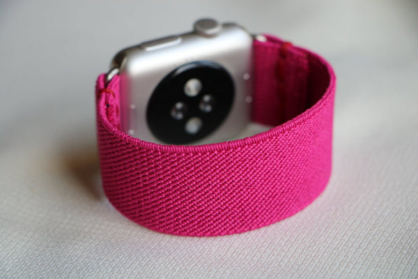 boho armband für apple watch pink fuchsia flower pmhandycrafts passend zu Serien 2, 3, 4, 5, 38mm 40mm 42mm 44mm