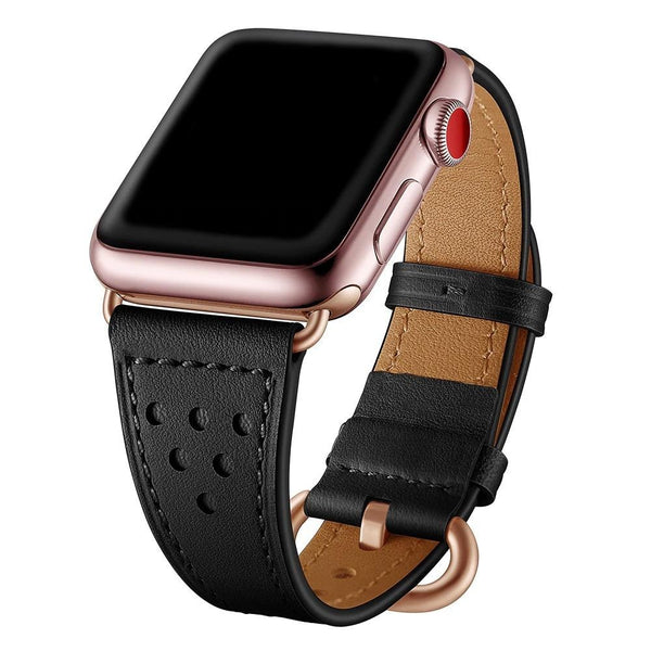 Black Holo Slim | Lederarmband für Apple Watch (Schwarz)