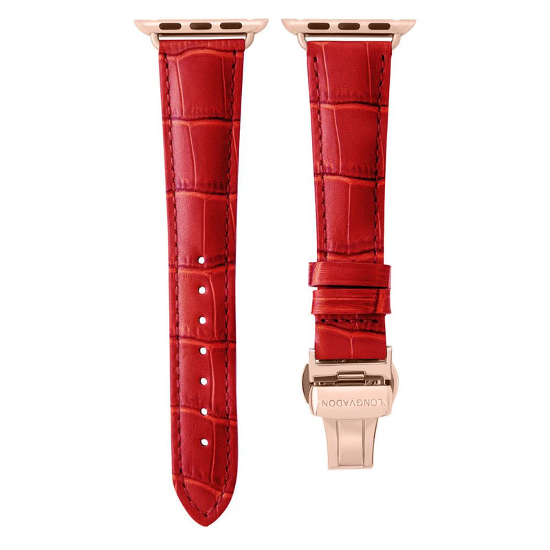lederarmband für apple watch rot gepraegtes alligator damen crimson red longvadon passend zu Serien 2, 3, 4, 5, 38mm 40mm 42mm 44mm