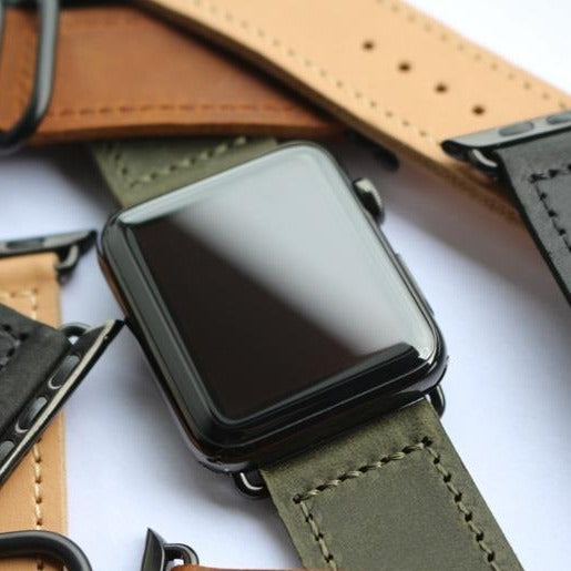 Vintage Retro Green Double Buckle | Lederarmband für Apple Watch (Grün)