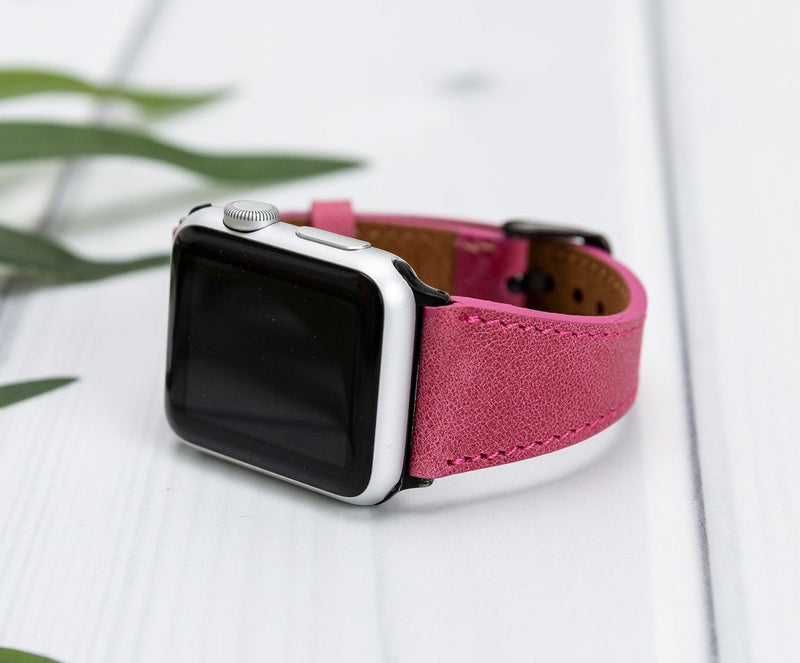 Gypsy Pink Slim Lederarmband Damen Leder Band für Apple Watch 3, 4, 5. 40mm 44mm 38mm 42mm iWatch