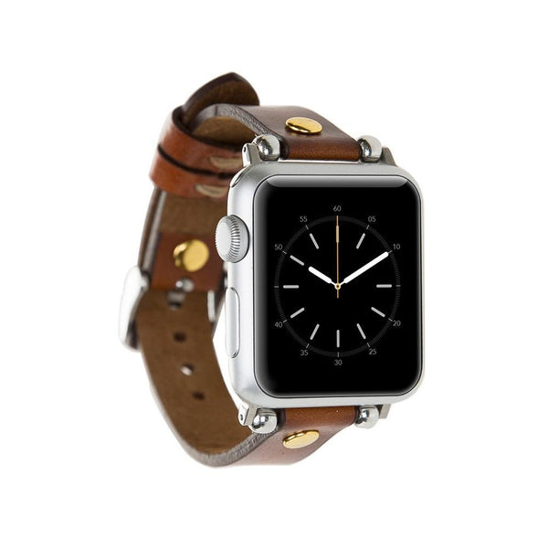 Brown Gold Rivet Petit Slim | Lederarmband für Apple Watch (Braun)