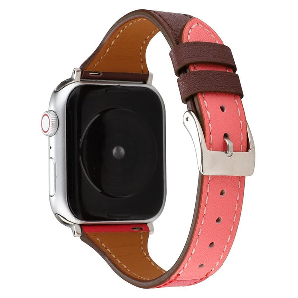 Brown Pink Leather Slim | Lederarmband für Apple Watch (Pink)