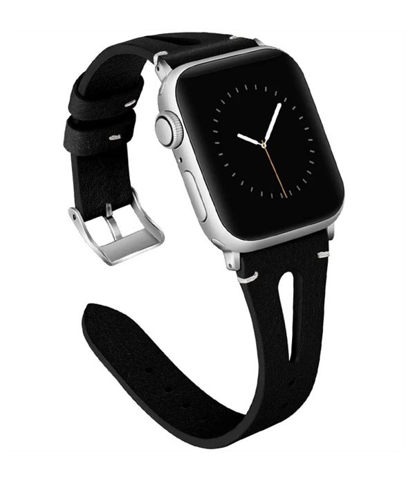 Black Lether Slim | Lederarmband für Apple Watch (Schwarz)