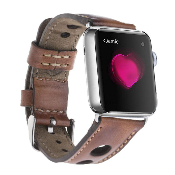 Brown Tan Vintage Holo Classic | Lederarmband für Apple Watch (Braun)