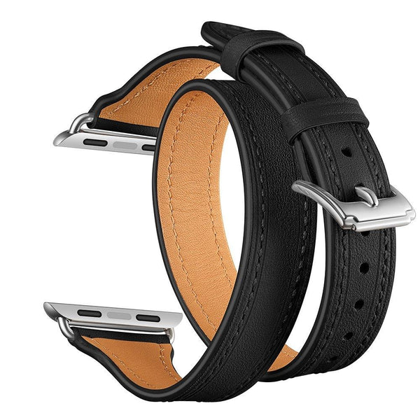 Black Slim Double Trouble | Lederarmband für Apple Watch (Schwarz)