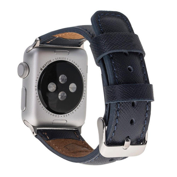 Saffiano Navy Blue Classic | Lederarmband für Apple Watch (Dunkelblau)