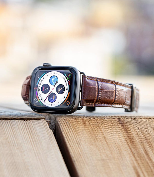 Lederarmband für Apple Watch Braun Gepraegtes Alligator Series 2, Series 3, Series 4, Series 5 38mm 40mm 42mm 44mm