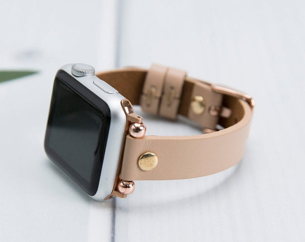 Lederarmband für Apple Watch Aprikose Series 2, Series 3, Series 4, Series 5 38mm 40mm 42mm 44mm