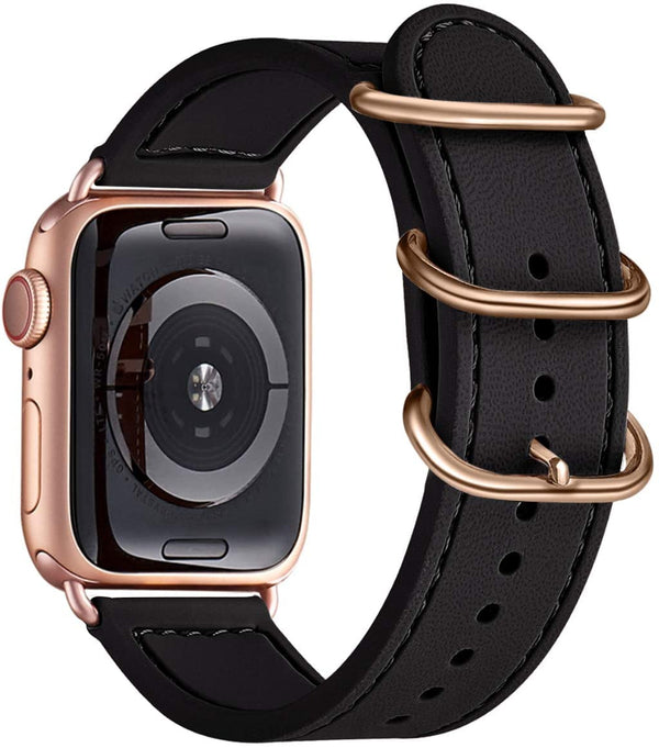 Black Silikon Double Buckle | Armband für Apple Watch (Schwarz)
