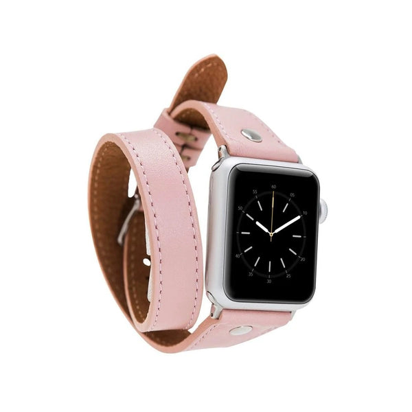 lederarmband für apple watch pink nude pink slim double trouble awab passend zu Serien 2, 3, 4, 5, 38mm 40mm 42mm 44mm