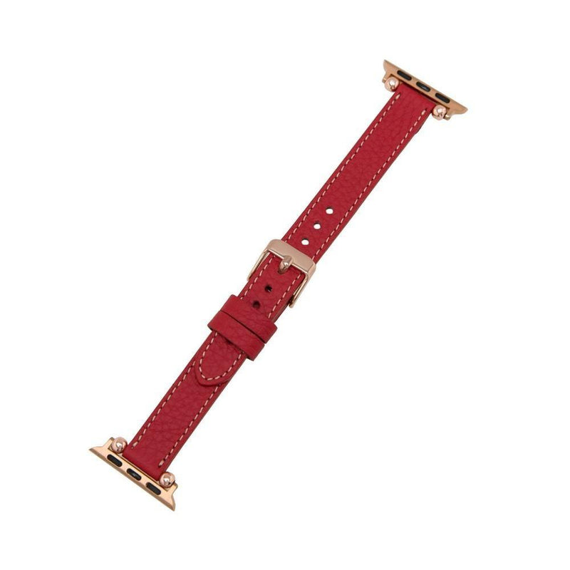 Ruby Woo Red Petit Slim | Lederarmband für Apple Watch (Rot)