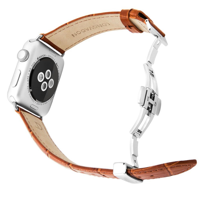 lederarmband für apple watch braun gepraegtes alligator herren whiskey longvadon passend zu Serien 2, 3, 4, 5, 38mm 40mm 42mm 44mm