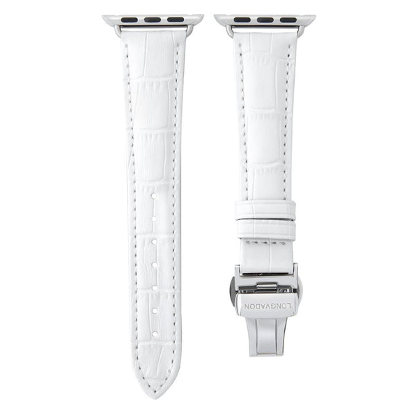 lederarmband für apple watch weiss gepraegtes alligator damen snow white longvadon passend zu Serien 2, 3, 4, 5, 38mm 40mm 42mm 44mm
