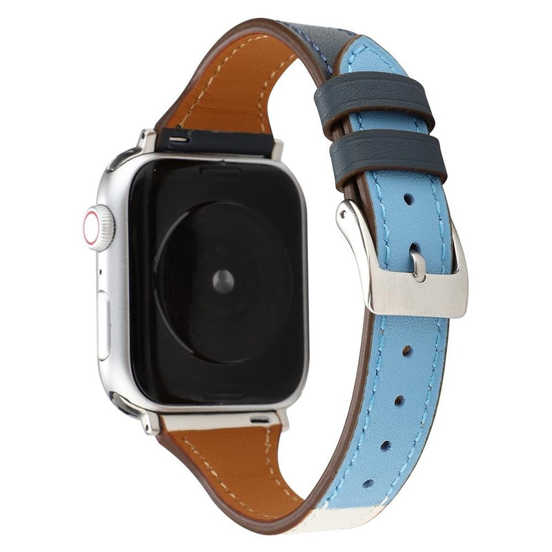 Indigo Blue Leather Slim | Lederarmband für Apple Watch (Blau)