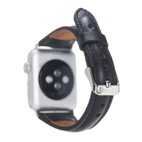 Black Slim | Lederarmband für Apple Watch (Schwarz)