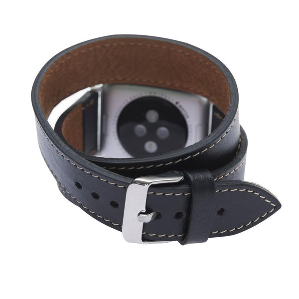 Black Double Trouble | Lederarmband für Apple Watch (Schwarz)