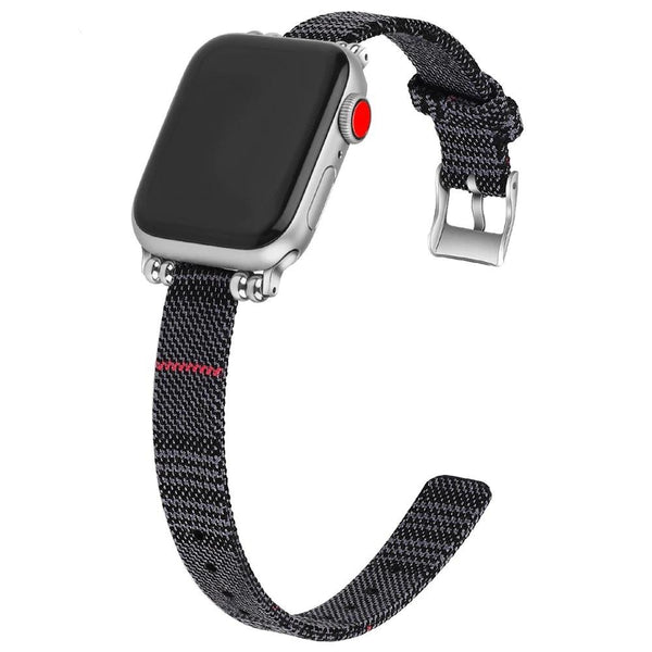 armband für apple watch grau canvas grey plaid petit slim awab passend zu Serien 2, 3, 4, 5, 38mm 40mm 42mm 44mm