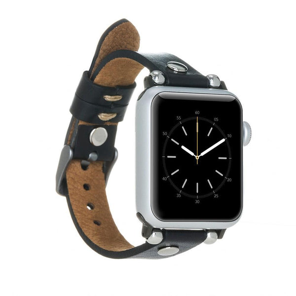 Black Silver Rivet Petit Slim | Lederarmband für Apple Watch (Schwarz)