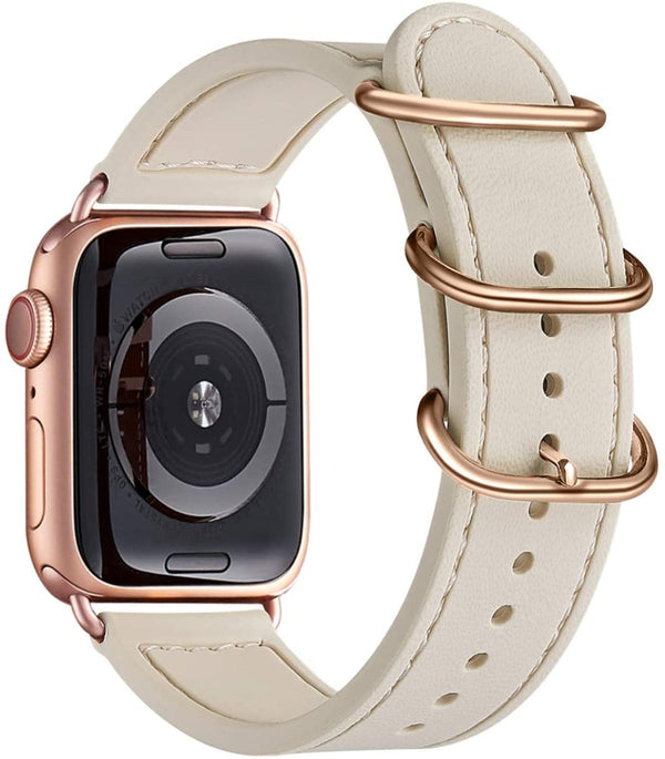 Beige Silikon Double Buckle | Armband für Apple Watch (Beige)